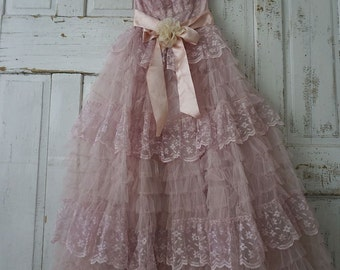 Faded pink tulle Lace dress wall hanging French Nordic 1950 Gown prom dress shabby romantic chic embellished hanger decor anita spero design