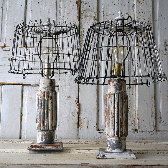 wooden baluster style table lamps rustic farmhouse distressed. Black Bedroom Furniture Sets. Home Design Ideas