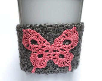 Pink Butterfly Crochet Coffee Cup Cozy