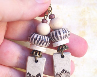 Art Deco Beige Earrings, Ceramic Dangle, Art Nouveau, 1920 Old World Victorian Vintage Inspired, Victorian Jewelry, Repousse textured floral