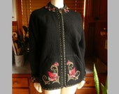 Vintage 90s Icelandic Design Black Red Floral Wool Cardigan Sweater M