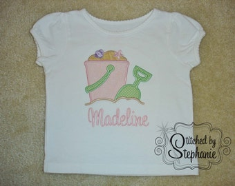 Baby and Toddler Girls Embroidered Personalized Monogrammed with name Pink Green Beach Sand Pail Bucket Applique Shirt or bodysuit