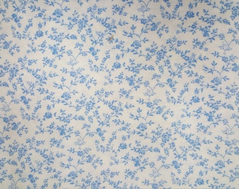 Brushed Cotton -- Almost like a flannel - Blue Vines on white