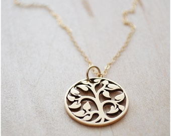 Tree of Life Necklace - Family Tree Necklace - Charm Jewelry - Mother's Day Jewelry - Gold Filled & Bronze Jewelry - Layering Necklace