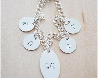 Initial Charm Bracelet - Personalized Grandma Bracelet - Sterling Silver Monogram Bracelet - Mommy Jewelry