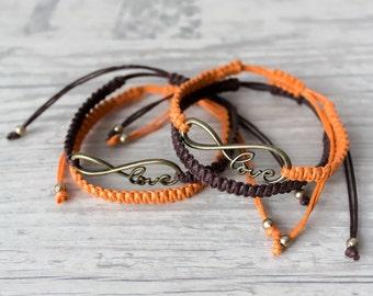 His and her bracelet Couples infinity bracelet Macrame bracelet Friendship bracelet set - set of 4