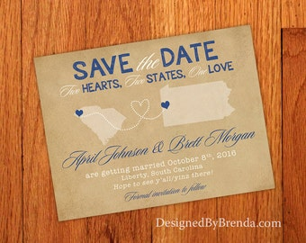 Vintage Save the Date with State Outlines - Two Hearts, Two States, One Love - Rustic Kraft Look with Custom Locations - Heart Dotted Line