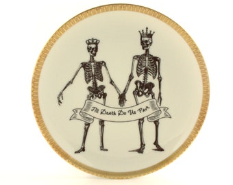 SALE Plate Till Death Do Us Part Altered Vintage Porcelain Wedding Gift Couple Halloween Ribbon Home Wall Decor Sugar White Fun Funny Human
