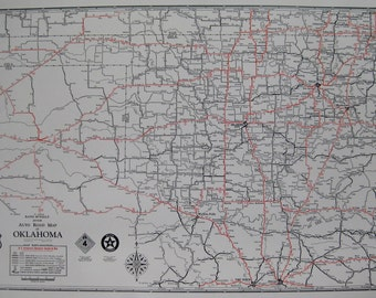 1930 Antique Oklahoma Map of Oklahoma Poster Print Size Oklahoma Road Map Map Collector Gift for Traveler Gallery Wall Art 6664