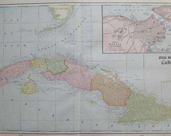 Antique CUBA Map of Cuba and HAVANA Harbor Map 1899 Cuba Gallery Wall Art 6699