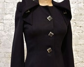 40s Black Gabardine Jacket - Great Buttons and Details