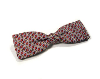 50s Bow Tie, 'Royal' Clip Bow Tie, Gray Red and Yellow Vintage Bow Tie
