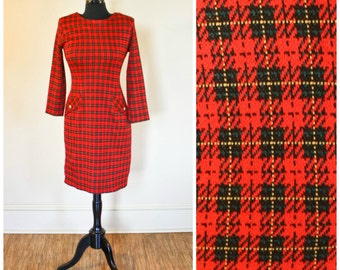 Vintage Red Plaid Dress Molly Malloy Petite 80s 90s Stretch Size Small Shoulder Pads
