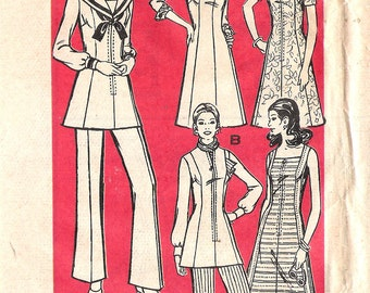 "Vintage 1970's Marian Martin 9198 Retro Dress or Tunic & Pants  Five Variations Sewing Pattern Size 20 1/2 Bust 43"" UNCUT"