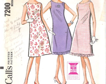 """Vintage 1964 McCall's 7200 Mod Three Panel Dress Sewing Pattern Size 12 Bust 32"""""""