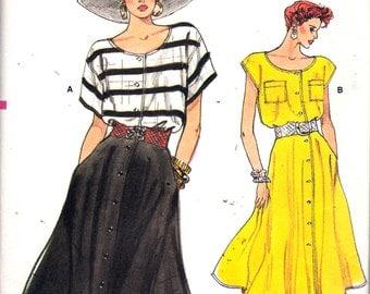 "Vintage 1986 Vogue 9578 Top & Skirt Sewing Pattern Size 8 - 10  -12 Bust 31 1/2"" - 32 1/2"" - 34"" UNCUT"