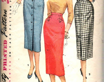 Vintage 1956 Simplicity 1690 Three Pencil Skirts Sewing Pattern Size Waist 24""