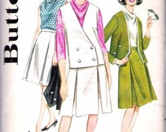 "Vintage 1960's Butterick 3142 Misses Coordinates, Jacket, Blouse & Skirt Sewing Pattern Size 14 Bust 34"" UNCUT"