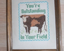 Cow finished cross stitch, cross stitched cow, farm decor, framed cross stitch, finished cross stitch