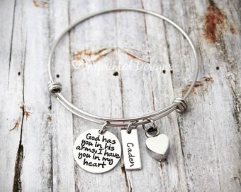 God Has You In His Arms, I Have You In My Heart - Bangle - Memorial Bracelet-Cremation Bracelet- Ashes - Sympathy Gift - Heart Cremation Urn
