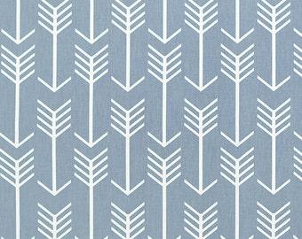 1 Yard Cashmere Blue White  Arrow Premier Prints -  Home Decor Duck Cloth - Dusty Blue