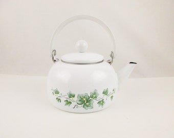 White Enameled Teakettle With Stenciled Green Ivy Leaves - Rocking Handle on Strong Steel Base - Vintage - Like New Teakettle - White Handle