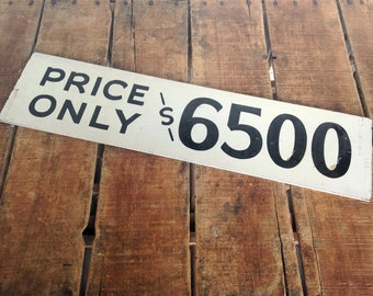 Vintage Sale Sign, Double Sided Vintage Sign, Painted Price Vintage Sign, Real Estate Sign, Paint on Masonite/Chipboard, Black and White