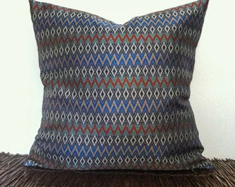 16x16 Decorative Pillow Cover- Blue Tribal Pillow Cover, Navajo Pillow