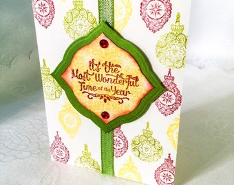 Handmade Christmas card - holiday cards - most wonderful time of the year - hand stamped - Christmas ornaments