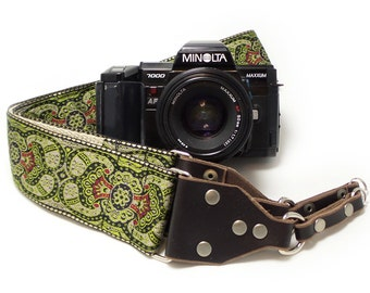 Camera Strap - Green Paisleys Woven Ribbon on Organic Hemp Webbing and Brown Leather ends - Works with DSLR, SLR and Manual Cameras