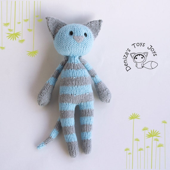 Knitting Toys In The Round : Naptime blue tabby cat stripy series toy pdf knitting