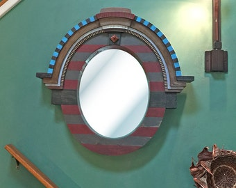 Hand Painted Oval Architectural Mirror, Accent Mirror