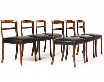 Danish Modern / Mid century Dining Chairs — Sculptural Rosewood frames — Black leather — Ole Wanscher — Set of Six