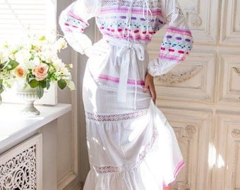 "Summer dress ""Lala"" in the Russian style, with lots of lace"