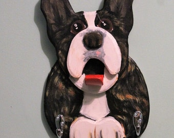 Frenchton  Wooden Leash Holder,  Frenchbo Home Decor, French Bulldog Leash Holder, Dog Leash Hanger