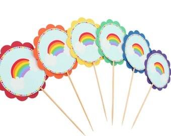 Rainbow Cupcake Toppers - Rainbow Birthday Party - Rainbow Party Decor