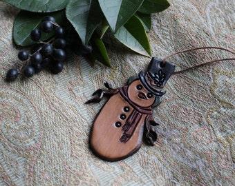 Snowman Ornament Leather