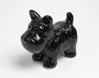 FREE SHIPPING - The Black Dog - Black Table Top Dog Decoration - Kids Room Decor Animal Statue - Faux Taxidermy Schnauzer Table Top Figurine