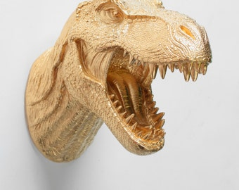 T Rex Head Dinosaur Wall Mount in Gold - The Wilbur Gold Resin T-Rex Wall Decor- Trex Dinosaur Decor by White Faux Taxidermy, Bedroom Art