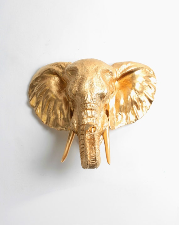 Faux Elephant Head Taxidermy - The Toker - Gold Resin Elephant Head Wall Mount- Resin White Faux Taxidermy- Chic & Trendy African Safari