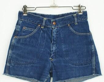 Vintage 1950's Indigo Denim Cut Off Shorts size 26