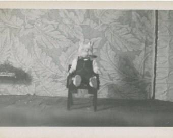 Surreal Figure, Seated 1940s Vintage Snapshot Photo (61449)