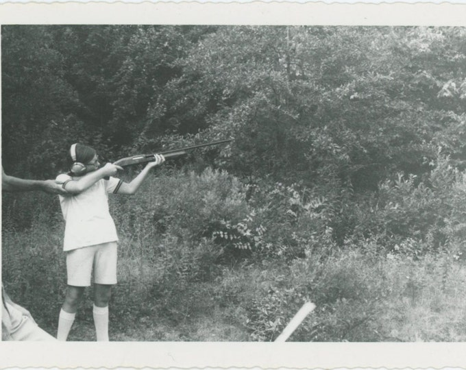 Taking Aim, Helping Hand, 1950s-60s: Vintage Snapshot Photo (65459)