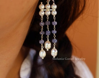 TANZANITE Earrings - 925 sterling silver stud earrings with starfish earstuds, freshwater pearls and faceted tanzanite