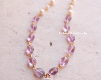 The Lady of The Camellias-Vermeil necklace with authentic cameo-Premium quality Sardonyx shell camellia cameo-freshwater pearls and amethyst