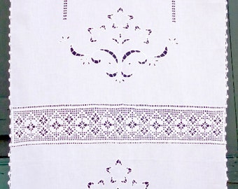 White cutwork curtain with atrante and hand-crochet lace - Farm house decor- Cottage chic- Mediterranean style- Greek handiwork- 0001702