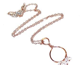 Rose Gold Hoop Herkimer Diamond Necklace Simple Necklace Rose Gold Necklace Hoop Necklace Loop Necklace Quartz Necklace