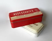 Vintage Metal Boxes Sewing Machine Accessories Red White Storage Decor TWO