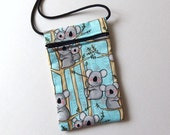 Pouch Zip Bag KOALA Bears aqua fabric. Great for walkers, markets, travel. Cell phone pouch. Small fabric purse. Australian koala in trees.