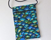 Pouch Zip Bag Blue Aqua Gold Fabric.  Great for walkers, markets, travel.  Cell Phone Pouch. Evening Purse. Small fabric coin purse.